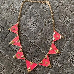 Hot pink forever 21 necklace w. Triangles Aztec